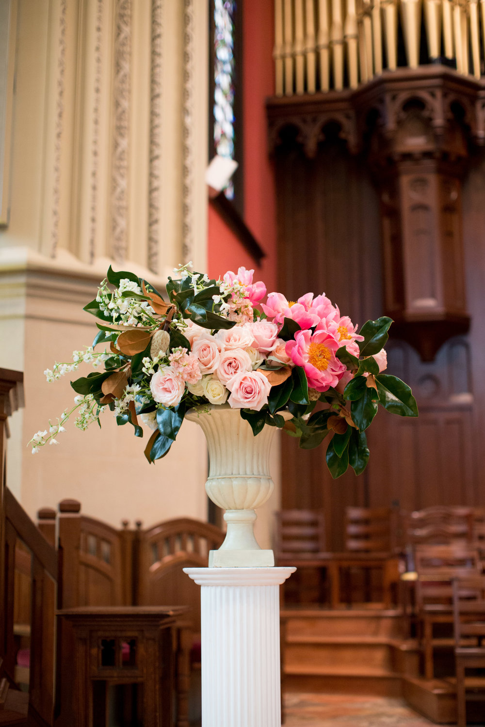 durham nc church ceremony altar floral arrangement