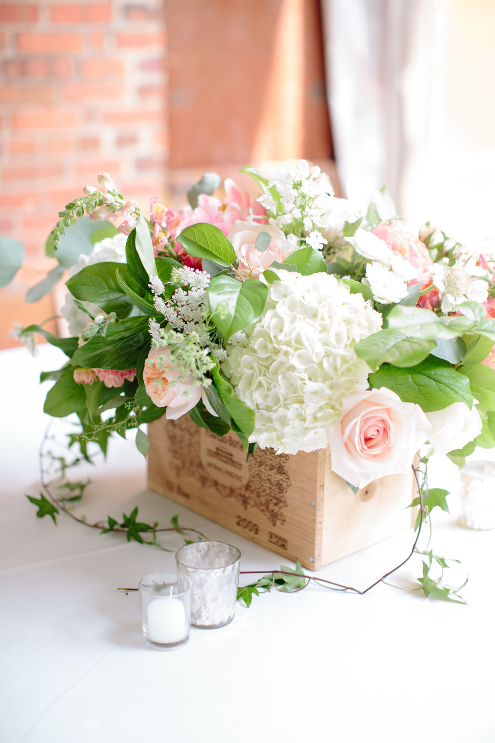 durham nc wedding reception garden box floral centerpiece