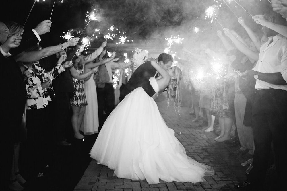 classic modern Raleigh wedding Angus Barn sparkler exit