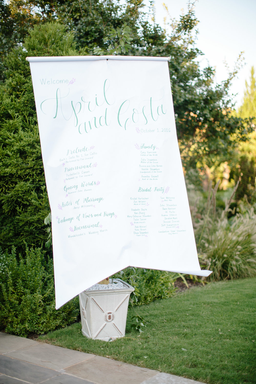 duke gardens wedding durham nc event design calligraphy welcome sign