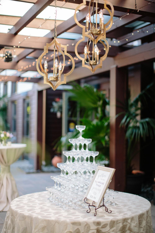 duke gardens wedding durham nc event design champagne tower chandeliers