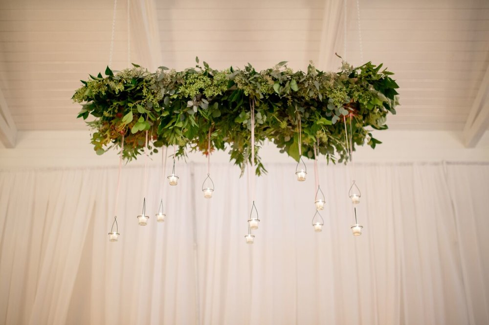 Raleigh nc wedding merrimon wynne greenery chandelier