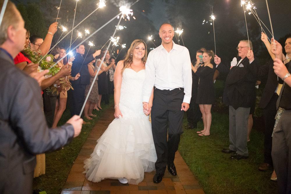 Raleigh nc wedding merrimon wynne sparkler exit