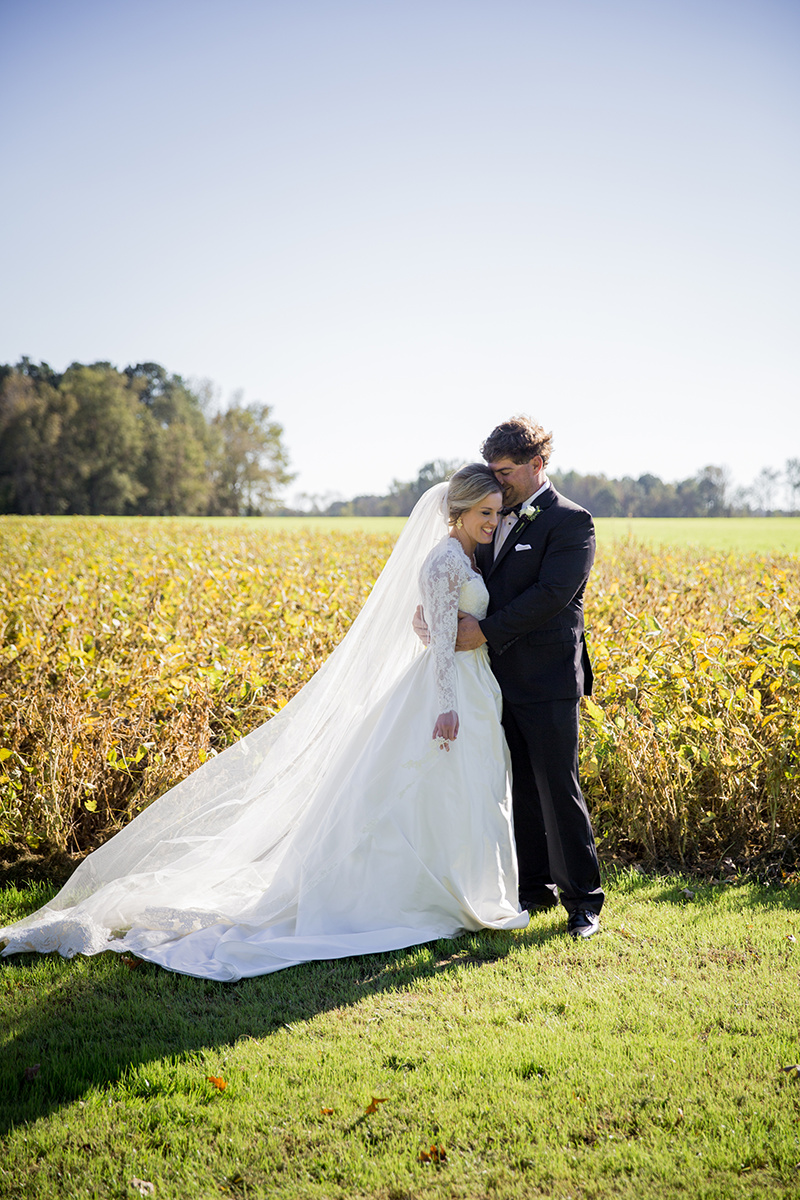 North Carolina tented farm fall wedding bride and groom