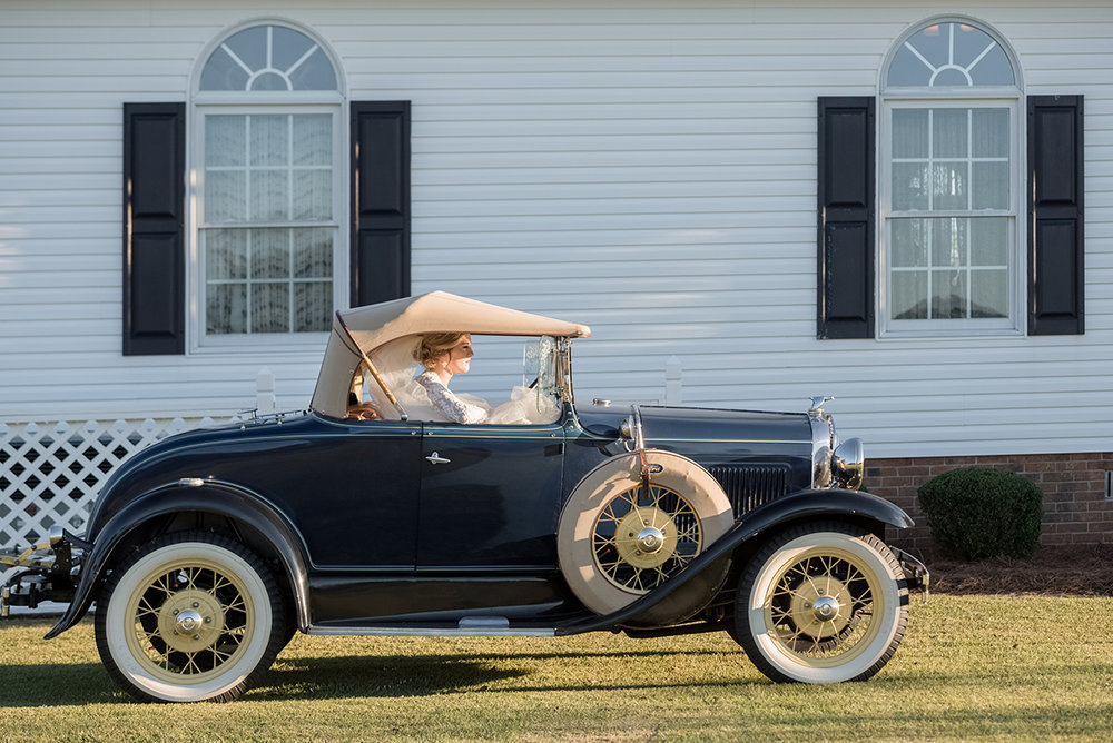 North Carolina tented farm fall wedding getaway car