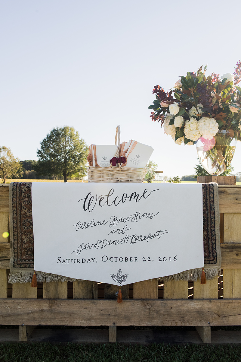 North Carolina tented farm fall wedding welcome banner programs