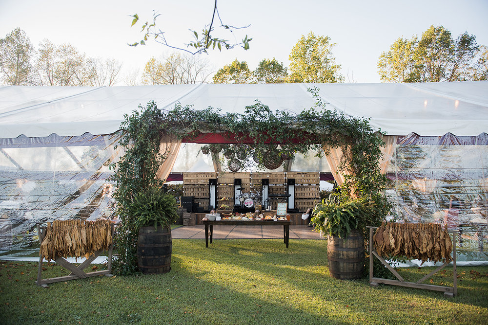 North Carolina tented farm fall wedding tobacco decor