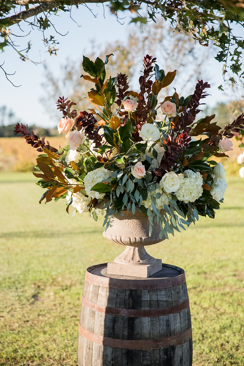 North Carolina tented farm fall wedding floral arrangement