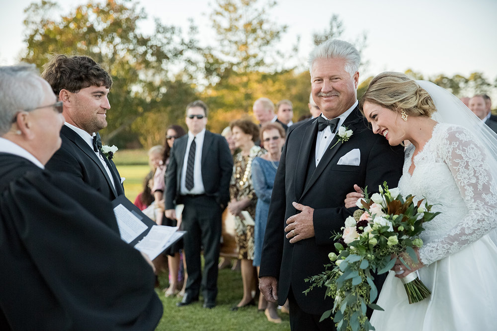 North Carolina fall tobacco farm wedding ceremony