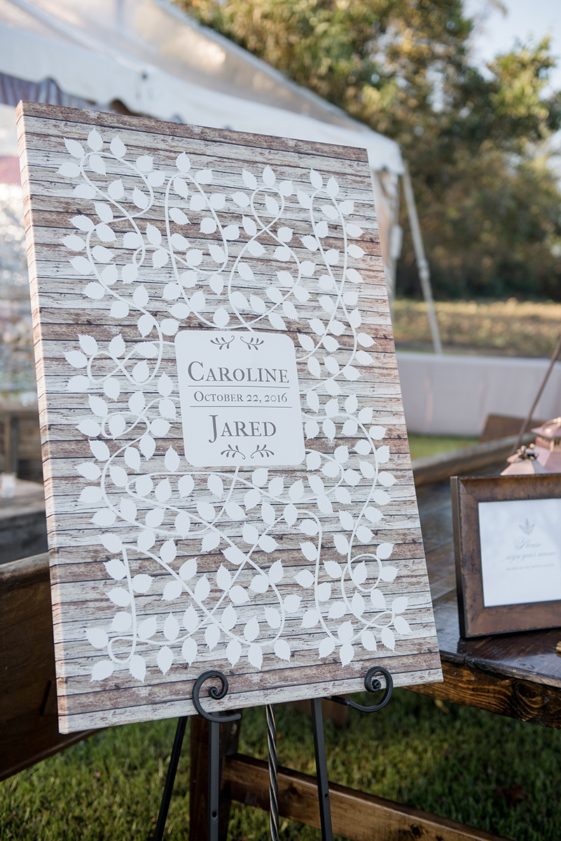 North Carolina fall tobacco farm wedding signage