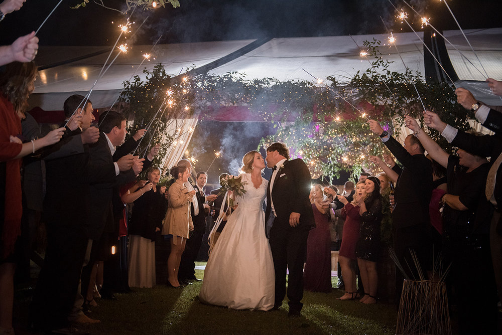 North Carolina fall tobacco farm wedding sparkler exit