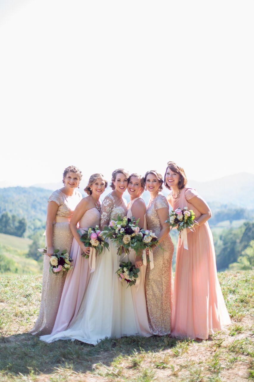 Asheville nc mountain wedding bridesmaids bouquet