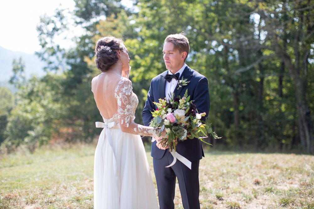 Asheville nc mountain wedding first look bride groom