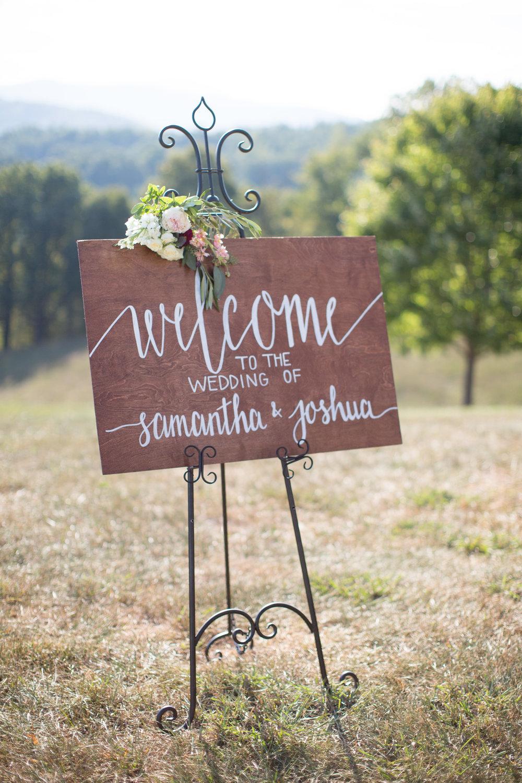 Asheville nc mountain wedding welcome sign