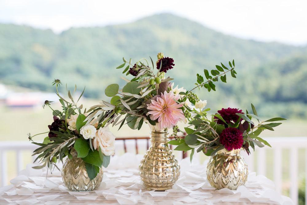 Asheville nc mountain wedding floral decor linens