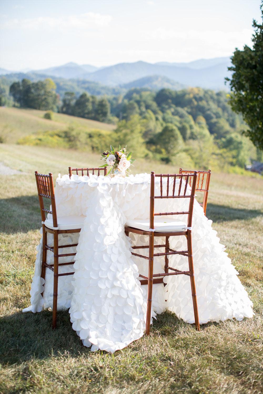 Asheville nc mountain wedding linen florals table