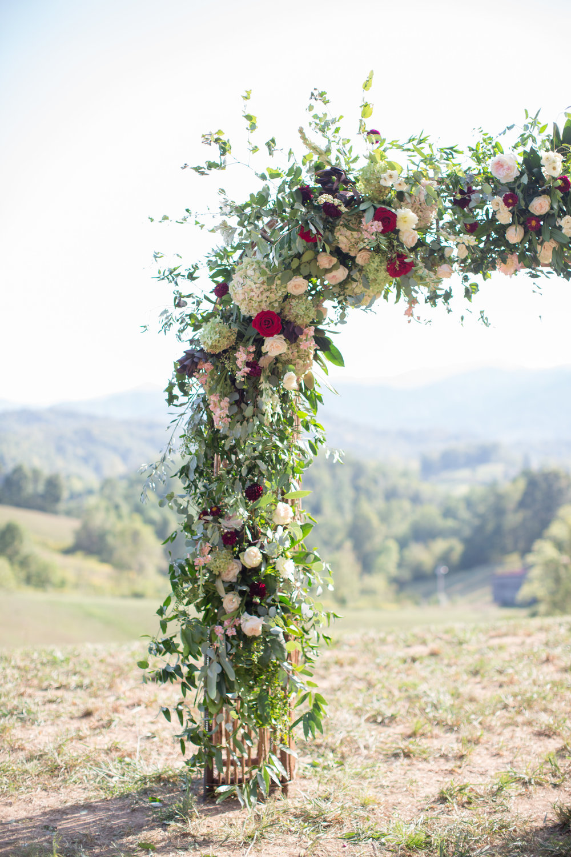 Asheville nc mountain wedding floral arbor