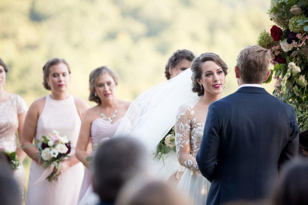 Asheville nc mountain wedding bride and groom