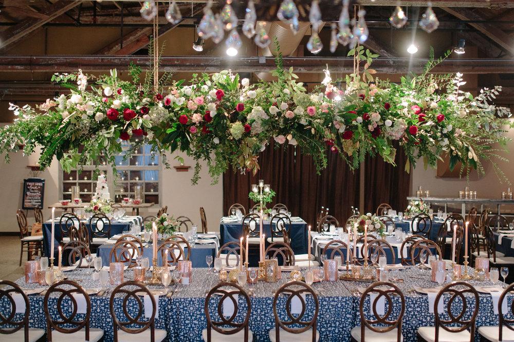 Asheville nc mountain wedding reception floral chandelier