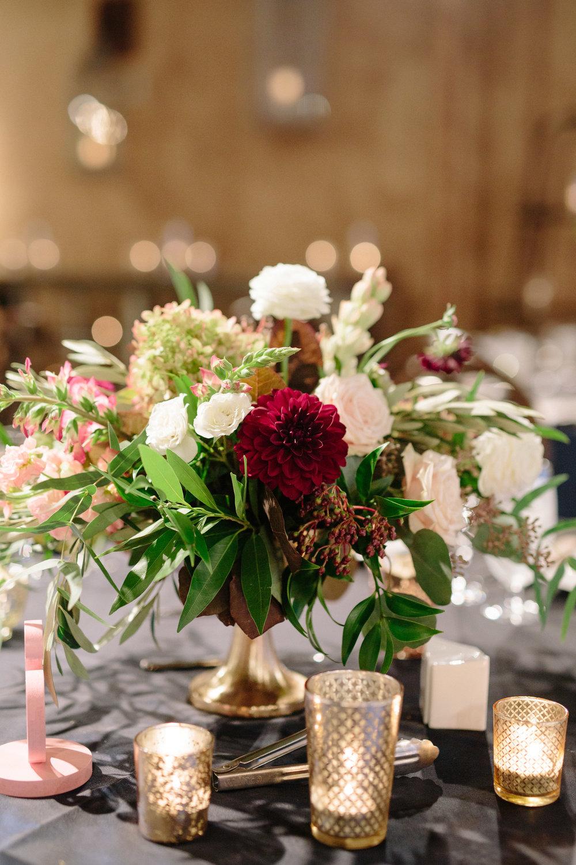 Asheville nc mountain wedding reception floral centerpiece
