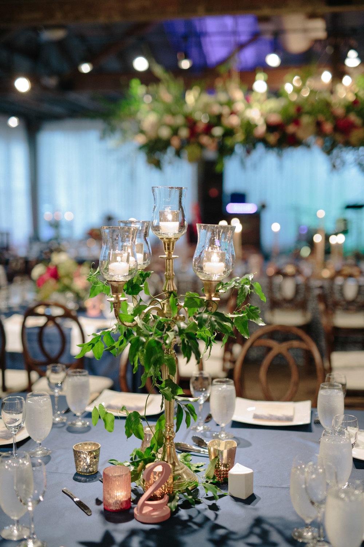 Asheville nc mountain wedding reception candelabra centerpiece