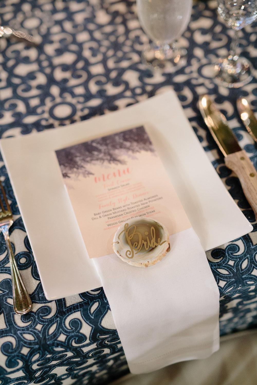 Asheville nc mountain wedding reception menu place setting