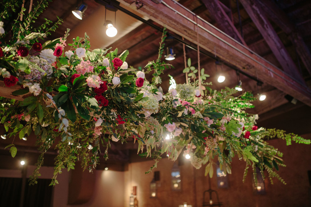 Asheville nc mountain wedding reception floral chandelier