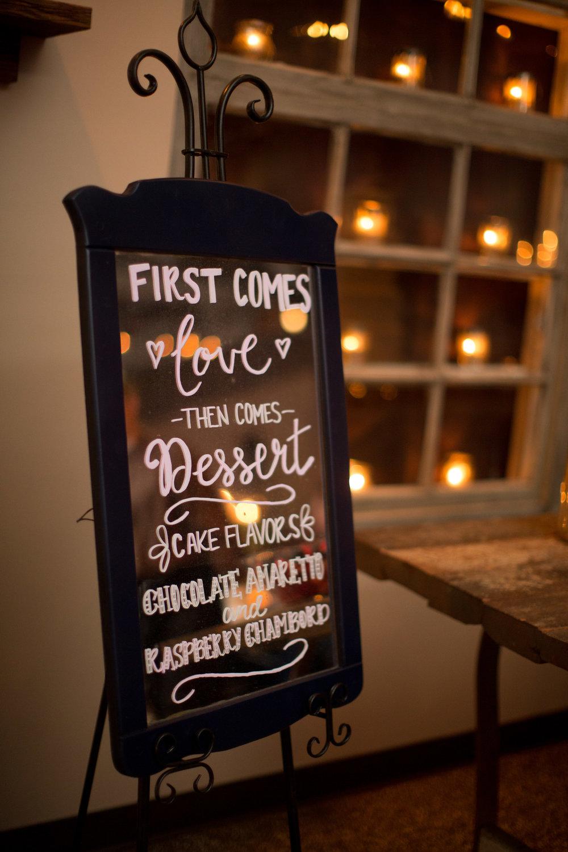Asheville nc mountain wedding reception cake sign