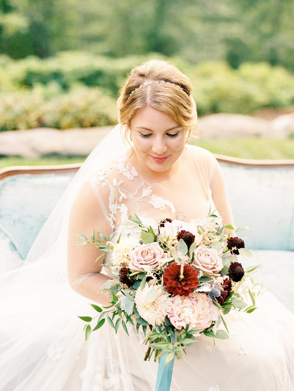bridal bortrait Monique lhuillier gown banner elk nc mountain wedding
