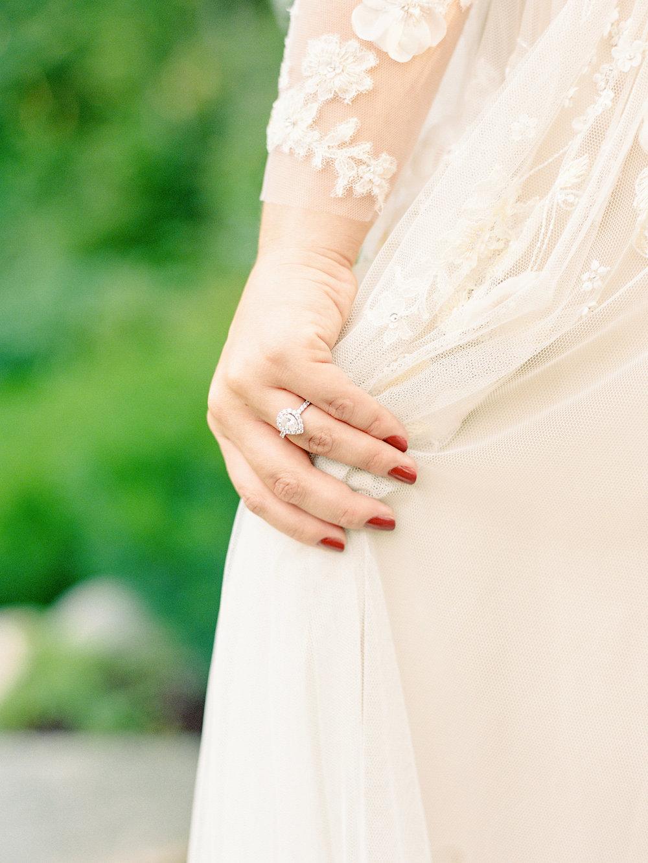 private home bridal portraits mountain wedding Monique lhuillier gown