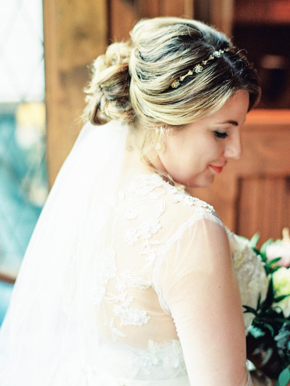 bridal portrait Monique lhuillier gown banner elk nc