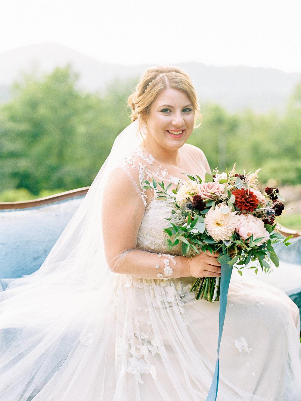 bridal portrait banner elk nc mountain wedding Monique lhuillier