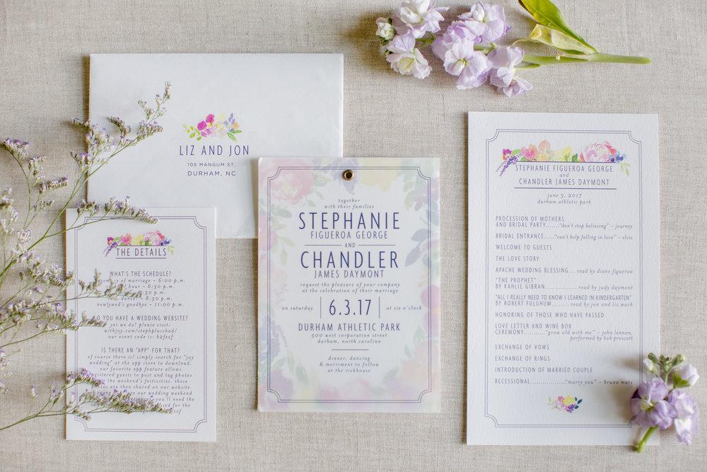 durham athletic park nc wedding watercolor invitation