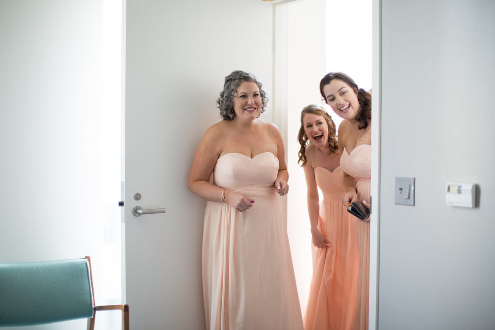 durham athletic park nc wedding bridesmaids first look