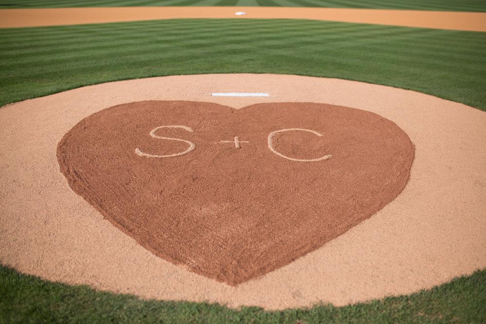 durham athletic park nc wedding pitchers mound monogram
