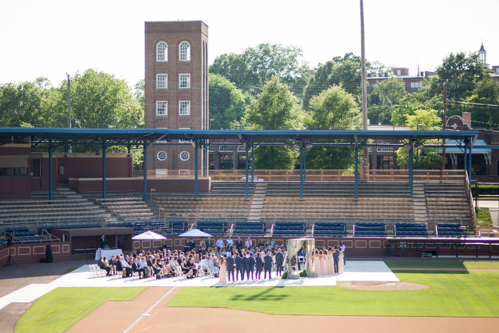 durham athletic park nc wedding ceremony on field