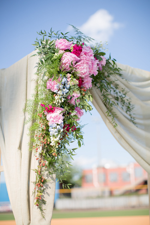 durham athletic park nc wedding floral arbor