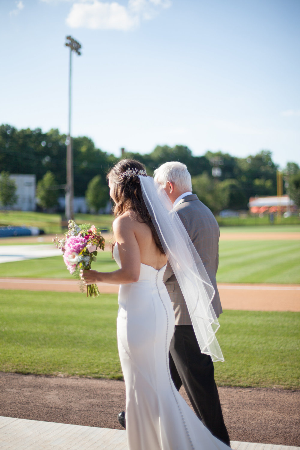 durham athletic park nc wedding father and bride
