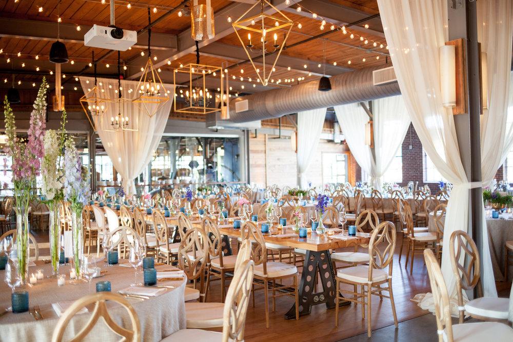 durham nc wedding the rickhouse reception geometric