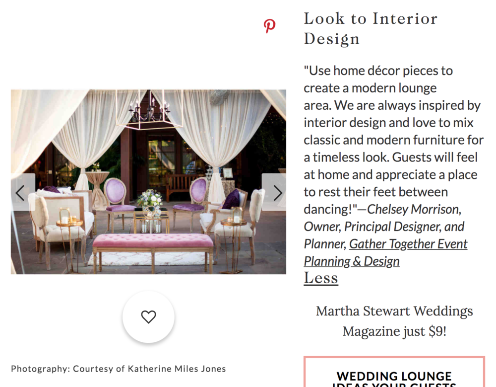 Martha Stewart wedding feature tented interior lounge design