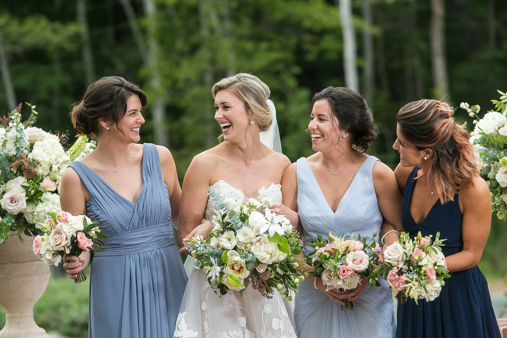 Southern Summer at Home Wedding Barn Chapel Hill NC bridesmaids