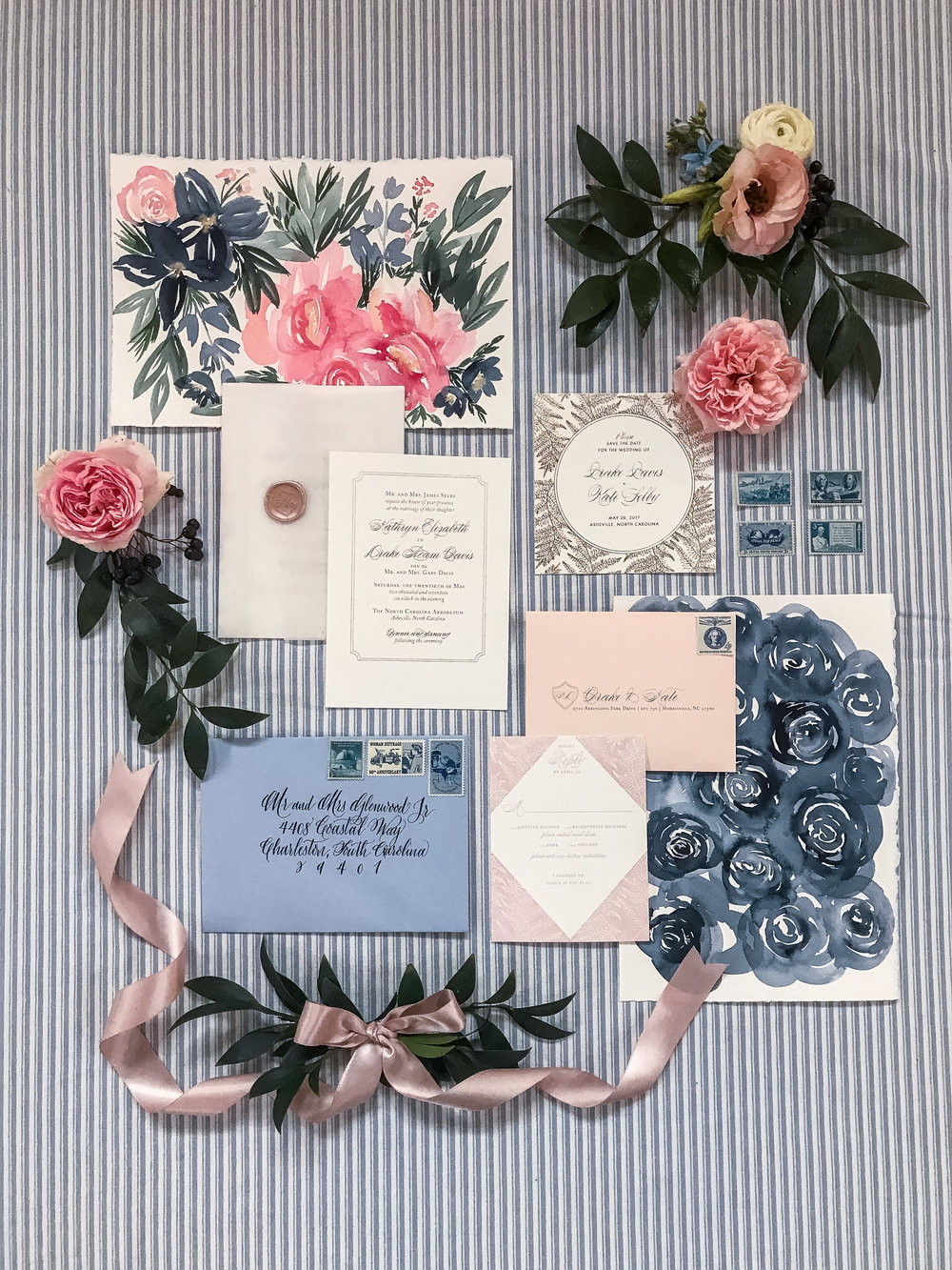 Southern Summer at Home Wedding Barn Chapel Hill NC invitation