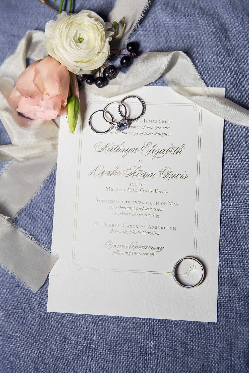 Southern Summer at Home Wedding Barn Chapel Hill NC invitation rings