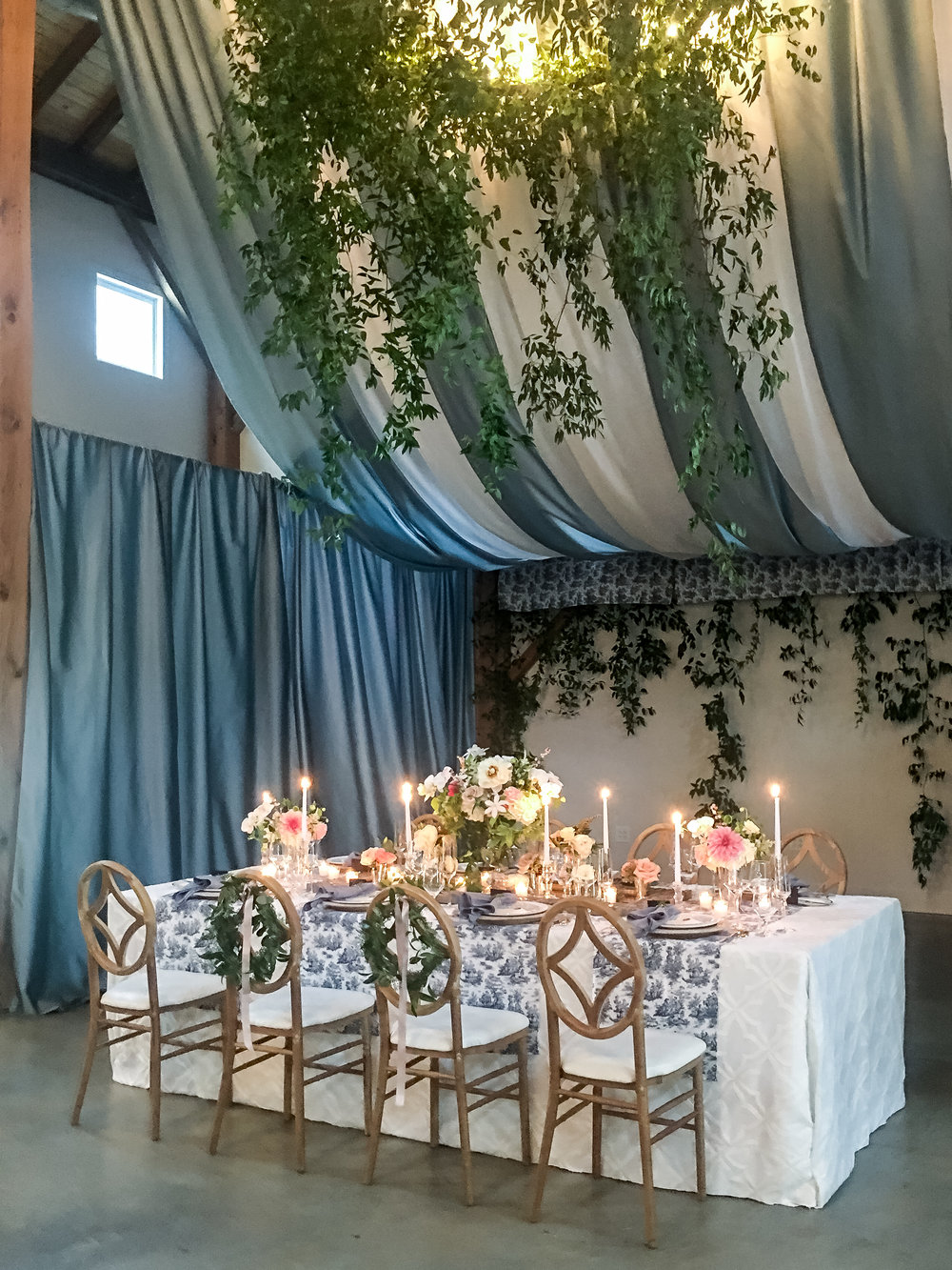 Southern Summer at Home Wedding Barn Chapel Hill NC reception tablescape