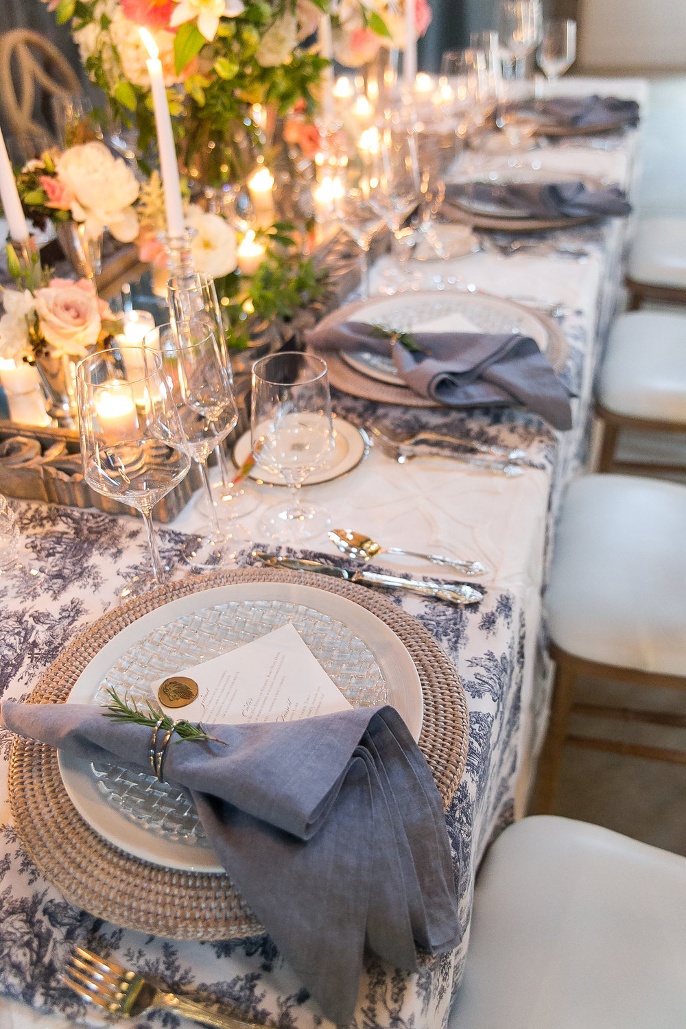 Southern Summer at Home Wedding Barn Chapel Hill NC tablescape linens