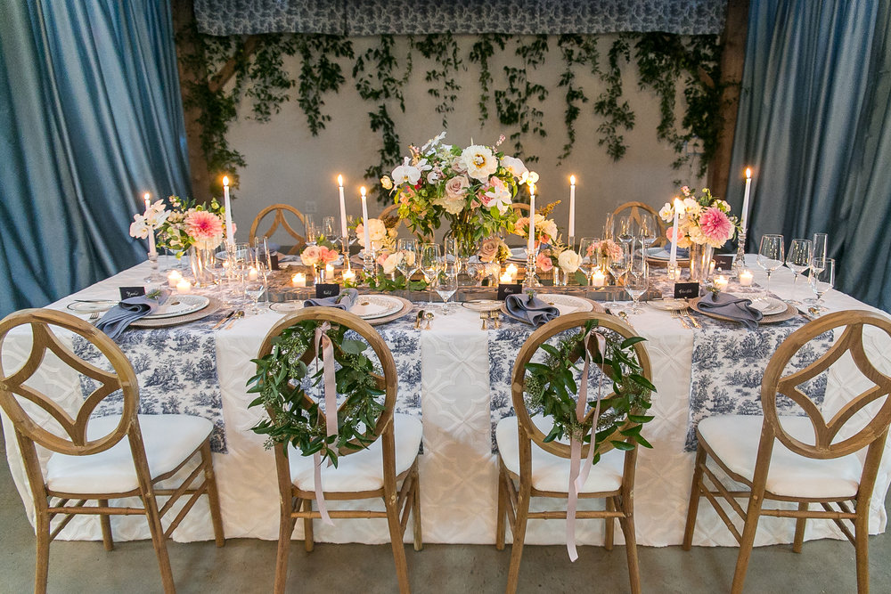 Southern Summer at Home Wedding Barn Chapel Hill NC tablescape sweetheart chairs