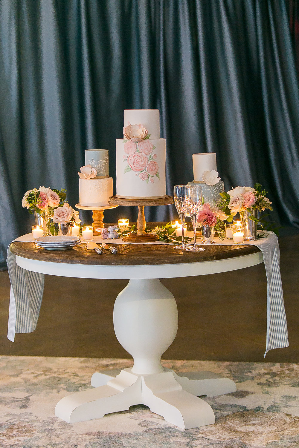 Southern Summer at Home Wedding Barn Chapel Hill NC cake table