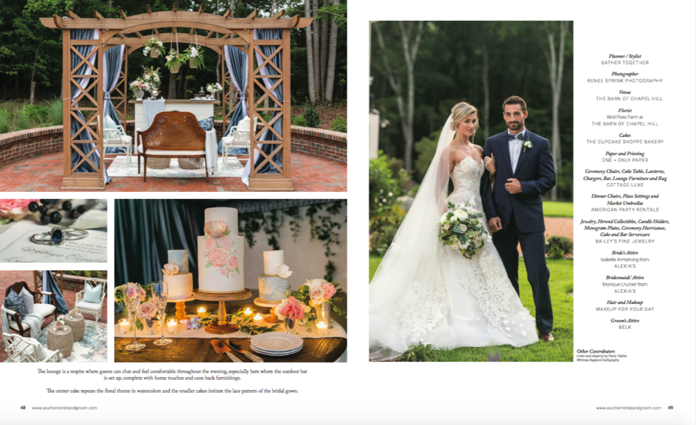Southern bride and groom magazine feature gather together events