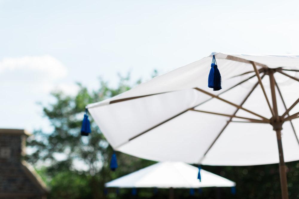 chapel hill nc traditional southern wedding market umbrella tassels