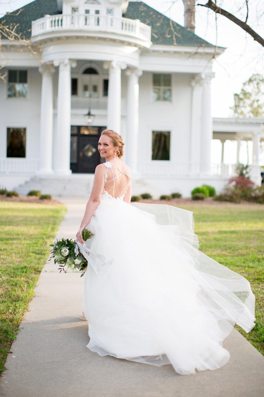Coastal Inspired Bridal Portraits Belhaven NC Historic Venue Bridal Gown Bride